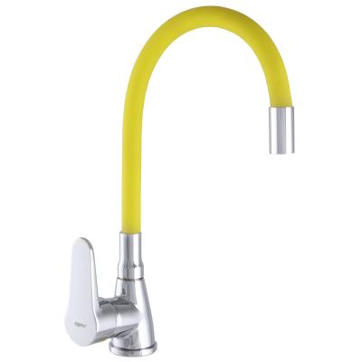 Смеситель для кухни ZERIX SOP7 146 с желтым гибким изливом (ZX2661)