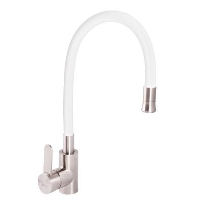 Смеситель для кухни из нержавеющей стали SUS304 ZERIX LR74004-3 (белый силиконовый излив) (LL1203)