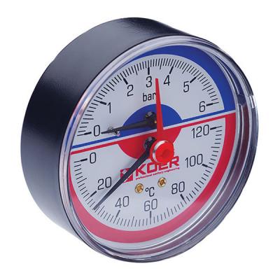 Термо-манометр аксиальный KOER KM.802A (0-6 bar), D=80мм, 1/2 (KR0223)