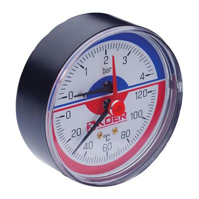 Термо-манометр аксиальный KOER KM.802A (0-4 bar), D=80мм, 1/2 (KR0222)