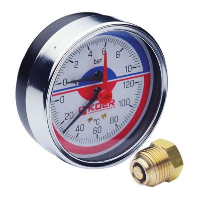 Термо-манометр аксиальный KOER KM.812A (0-10 bar), D=80мм, 1/2 (KR0219)