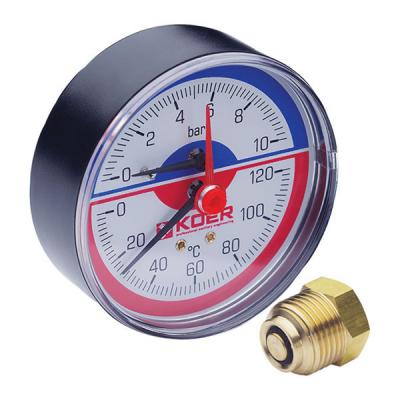 Термо-манометр аксиальный KOER KM.802A (0-10 bar), D=80мм, 1/2 (KR0224)