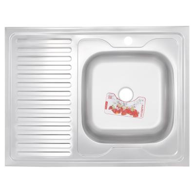 Кухонная мойка накладная ZERIX Z8060R-08-180E (SATIN) (ZS0609)