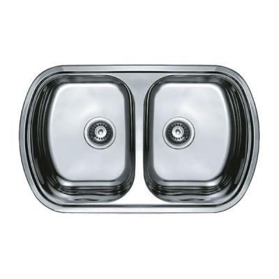 Кухонная мойка врезная HAIBA 80x49 DOUBLE (satin) (HB0652)
