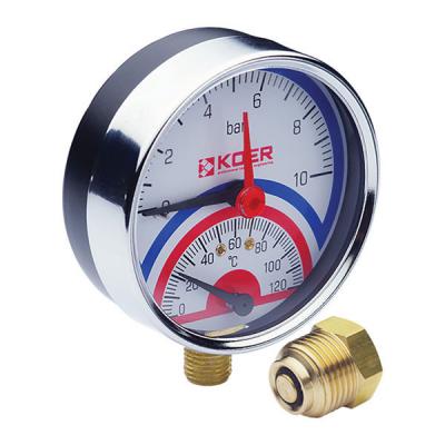 Термо-манометр радиальный KOER KM.821R (0-10 bar), D=80мм, 1/2 (KR0215)