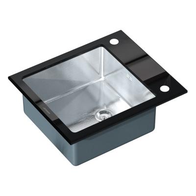 Кухонная мойка врезная MIXXUS MX(304)6051-200x1.2-HM-GLASS (MX0573)