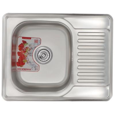 Кухонная мойка врезная ZERIX Z6350-08-180E (satin) (ZM0563)
