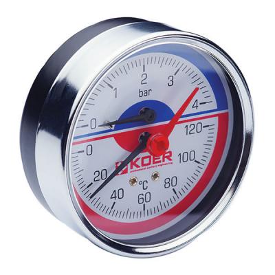 Термо-манометр аксиальный KOER KM.812A (0-4 bar), D=80мм, 1/2 (KR0221)