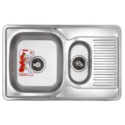 Кухонная мойка врезная ZERIX Z7850A-08-180E Armonia (SATIN) (ZS0576)