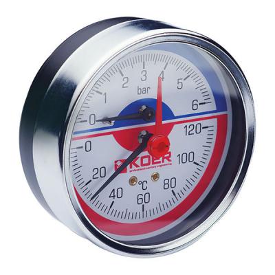 Термо-манометр аксиальный KOER KM.812A (0-6 bar), D=80мм, 1/2 (KR0220)