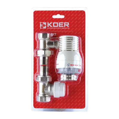 Комплект для подключения радиатора 1/2 (прямой) с термоголовкой KOER KR.1321 (KR2659)