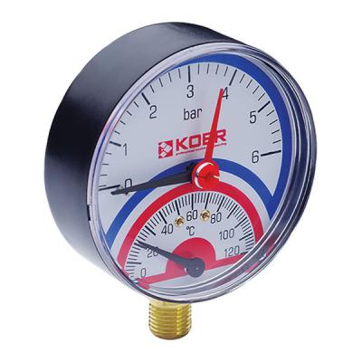 Термо-манометр радиальный KOER KM.801R (0-6 bar), D=80мм, 1/2 (KR0218)